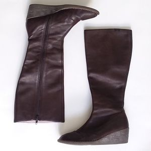 Camper Brown Leather Wedge Tall Boots Size 7